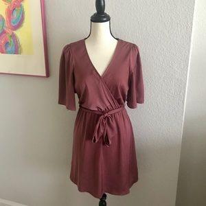 Express Ginger Satin Kimono Sleeve Wrap Dress